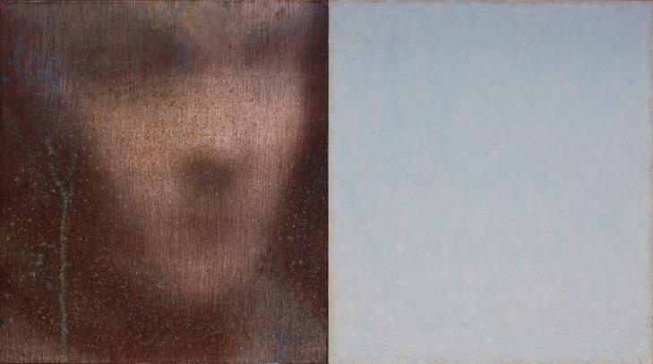 Robert Bosisio: oT (Kopf mit Blau 1)_Mischtechnik auf Papier auf Tafel, 32x58cm, 2015