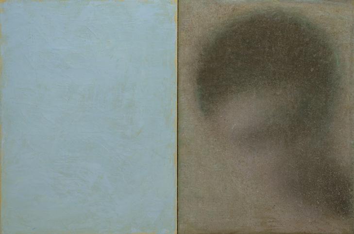 Robert Bosisio: oT (Kopf mit Blau 2) Oel und Eitemepra auf Leinwand, 60 x 40cm, 2015