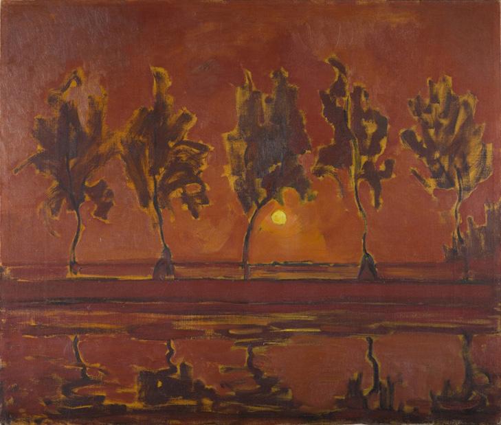 Piet-Mondrian_Piet-Mondrian--Bäume-am-Gein-aufgehender-Mond,-1907