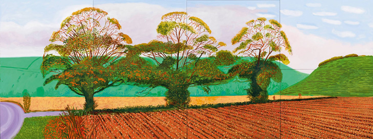 David Hockney: Three Trees near Thixendale, Spring, 2008 Sammlung Würth, Inv. 12500 © David Hockney 2015, Foto: Richard Schmidt