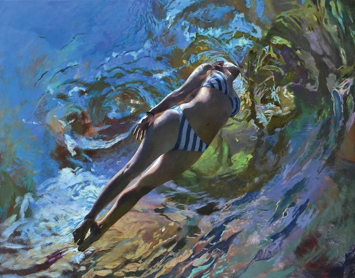 Anne Leone (Cenote Azul #16 (Schwimmer), 2016, 137x178cm, Acryl auf Leinwand)
