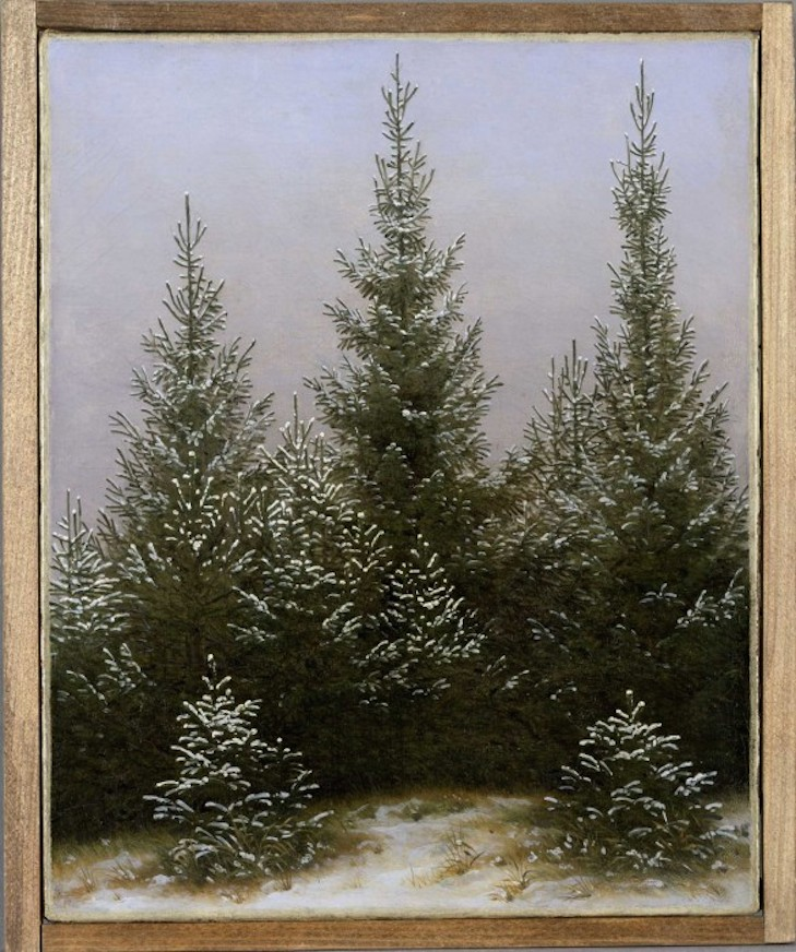 Caspar David Friedrich: Spruce Thicket in the Snow (from the Dresden Heath I), ca. 1828 Oil on canvas, 31.3 x 25.4 cm © Bayerische Staatsgemäldesammlungen - Neue Pinakothek München