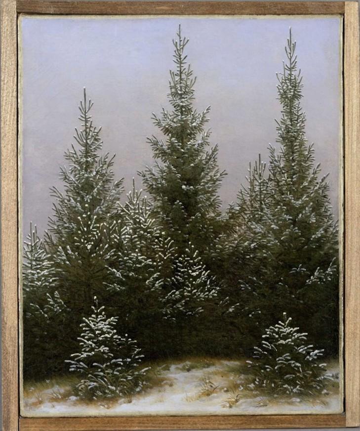 Caspar David Friedrich: Spruce Thicket in the Snow (from the Dresden Heath I), ca. 1828 Oil on canvas, 31.3 x 25.4 cm © Bayerische Staatsgemäldesammlungen - Neue Pinakothek München