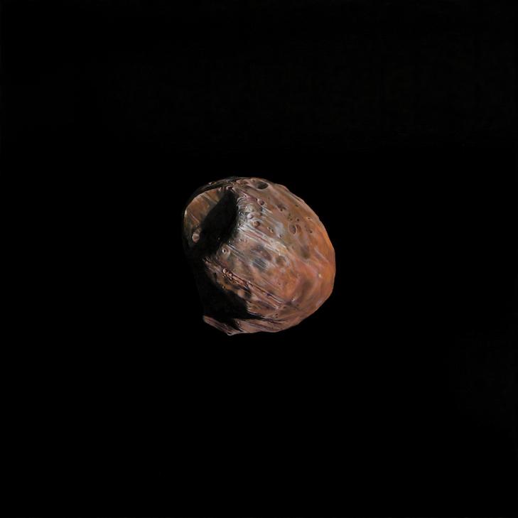 "Frank J. Schäpel ""Phobos. Mars-Mond"" 2009 Maßstab 1- 69.500 : Öl + Asphalt:Leinwand, 110 x 110 cm © F.J. Schapel"