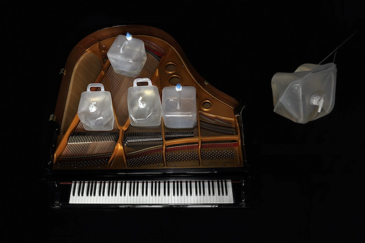 Piano prepared with containers filled with Pyrocystis fusiformis, Andreas Greiner, 2014 copy