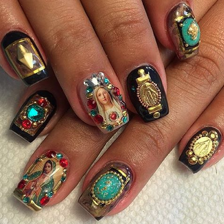 Chto Dlat, Performative Practices Of Our Time, 2017, digital prints. Nails by Regina Rodriguez. The design on the stickers depicts the Virgin Mary. 2016