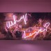 Why Love?, 2016, Neon, vintage canvas, objet trouvé