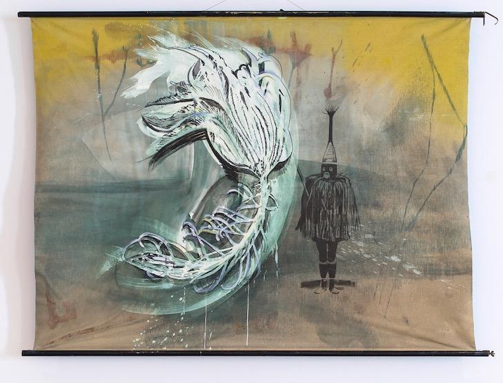 """o.T. aus """"Petrichor"""", 2017, 162 x 220 cm, Mischtechnik auf Leinwand, Holz, Metall"""