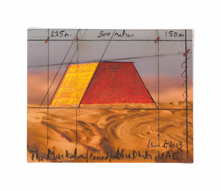 AUSTRIA | CHRISTO |The Mastaba | Collage, wax crayon on photograph by Wolfgang Volz of scale model in Al Gharbia, glued on canvas