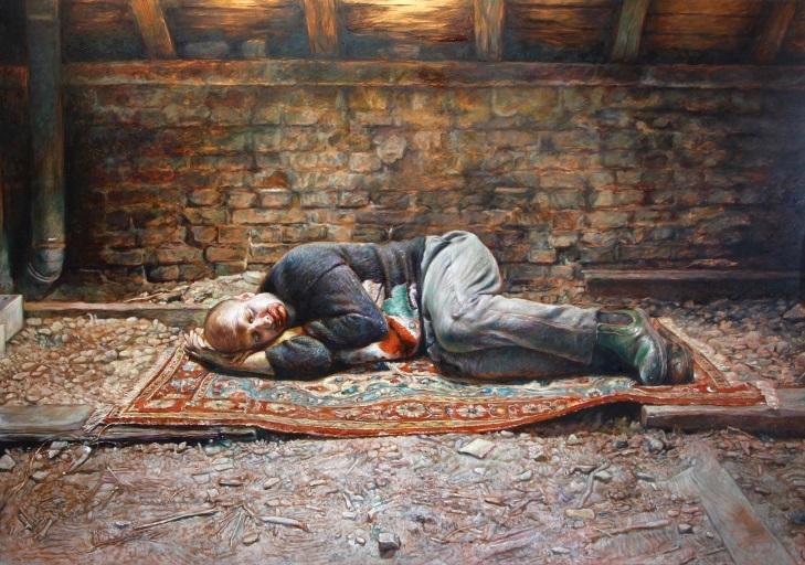L'Asile de la Grâce Axel Pahlavi | Embryon, 2017-2018, Oil on copper , 35 x 50 cm |Courtesy of Edmond Gallery