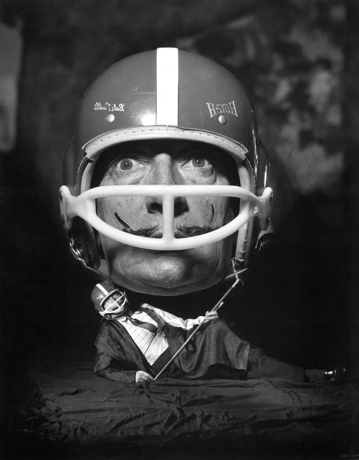 (c) Philippe Halsman, Dali with Helmet, 1964, courtesy°CLAIRbyKahn