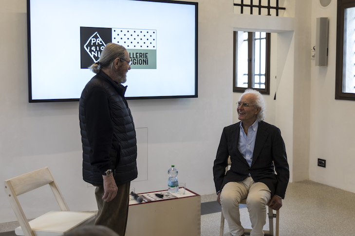 Architect Tobia Scarpa and Luciano Benetton at Gallerie delle Prigioni in Treviso